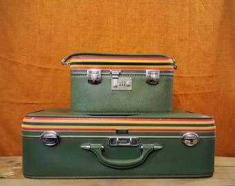 Train Case and Suitcase Pair, Large Amelia Earhart 1960s