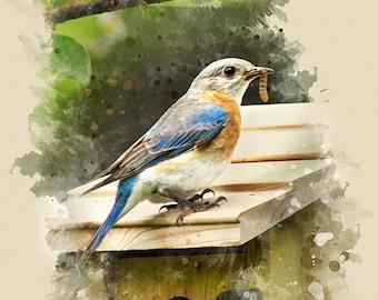 Eastern Bluebird Watercolor Art, Bluebird Print, Fine Art Print, BluebirdNature Decor, Bird Nest, Vertical Wall Art