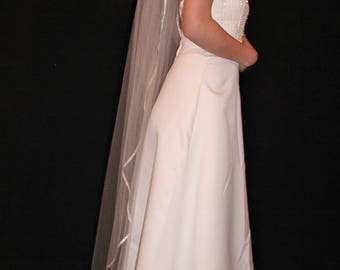 "65"" Waltz Veil with 1/4"" Folded Stain Ribbon Edge"