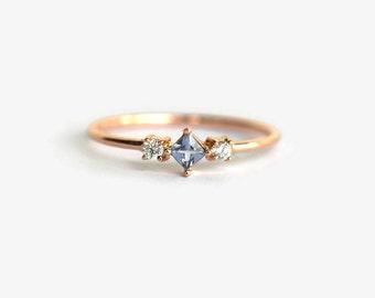 rose gold ring, alternative engagement ring, rose gold engagement ring, aquamarine engagement ring, aquamarine diamond ring