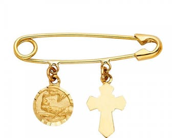 14K Solid Yellow Gold Cross Baptism Safety Pin Pendant - Medal Necklace Charm