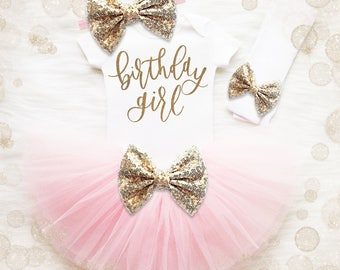 Birthday Girl 1st Birthday Outfit | Pink And Gold 1st Birthday Girl Outfit | First Birthday Shirt | Birthday Tutu Set | First Birthday