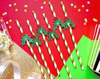 24 Christmas Mistletoe Straws, Christmas Paper Straws, Holiday Straws, Festive Straws, Christmas Party, Christmas Decor, Christmas Toppers