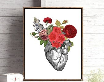 Anatomical Heart Print, Nurse Gift, Medical Student Gift for Him, Gift for Doctor, Anatomy Art, Medical School, Graduation Gift for Her
