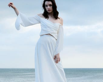 Boho wedding dress made of silk, off shoulder wedding dress, long sleeve wedding dress, simple wedding , beach wedding - Senna Two-piece