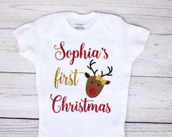 My first Christmas onesie |  Personalized name onesie, Christmas onesie, baby girl onesie, holiday onesie, reindeer, shirt, toddler shirt