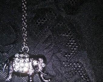 Silver Rhinestone Elephant Necklace