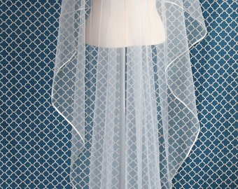 Cascade Cut Satin Ribbon Edge - Wedding Veil - Ribbon Plain Wedding Veil, Simple Wedding Veil