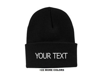 CUSTOM TEXT Cuff Beanie | Custom Embroidered Beanie, Custom Toque, Personalized Beanie, Cuff Beanie, Slouchy Beanie, Logo on Beanie