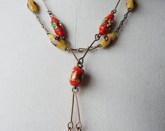 Vintage Necklace - 2 Pieces - 1920s Venetian Art Deco Fiorato Wedding Cake Glass Beads Metal Links Red and Yellow