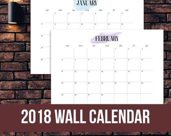 2018 Calendar Watercolor - Wall Calendar, A1, A2, A3, A4, A5 size