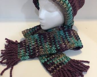 Loom Knit Hat and Scarf Set