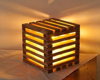 Wood lamp Wooden Table Lamp Wood cube lamp Desk Light handmade LED lamp Retro lamp Wooden lamp wood lamp Home Decor Housewarming