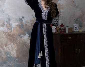Bohemian Clothing Boho Chic Dress Velvet Kaftan Abaya Dresses Vyshyvanka Embroidered Dress Ukraine Embroider Long sleeve Maxi Open Caftan