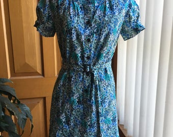 Arabella Ramsay blue floral cotton shirt dress - size 6