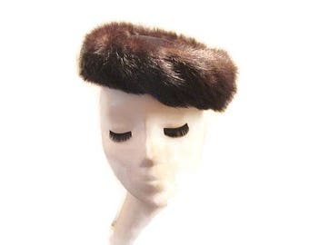 Mink Pillbox Fur Hat 1960s Chocolate Brown Velvet Crown