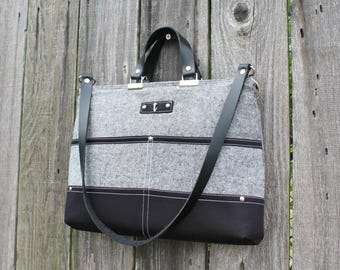 Chic Gray Chambray and Black Twill zipper closure purse, double strap handbag shoulder bag, with leather straps and personalized initial