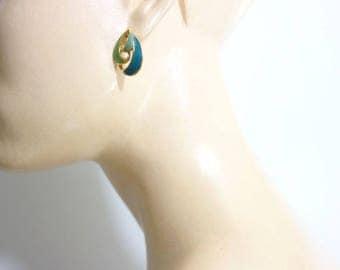 Enamel Earrings Vintage Enamel 80s Earrings Blue Green Earrings Gold Tone Earrings