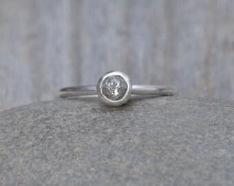 Raw Diamond Engagement Ring, Gray Diamond Ring, 0.55ct Rough Diamond Ring, Handmade In England