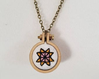 Quilter's Barn Star Embroidery Hoop Necklace Mini Embroidery Hoop Necklace Gift for a Quilter Quilting