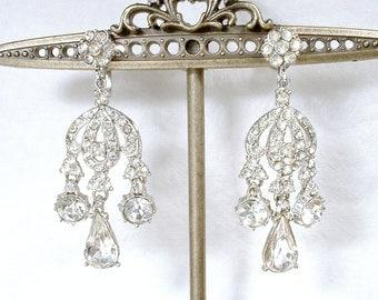 Vintage Art Deco Clear Rhinestone Earrings, Old Hollywood Glam Crystal Dangle Chandelier Earrings, 1940s 1950 Bridal Statement Screw On Back