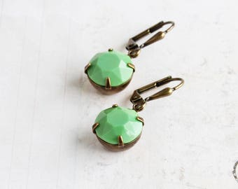 Light Green Round Rhinestone Dangle Earrings on Antiqued Brass Hooks (Leverback or Fishhook)