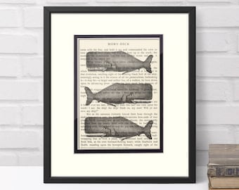 Moby Dick, Whale Art Over Vintage Moby Dick Book Page - Bibliophile Gift, Literary Gifts, Literary Print, Gift for Book Lover, Whale Print