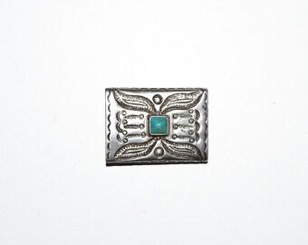Boucle de ceinture ton argent Vintage fin des années 1990 Turquoise Design Pierre natif américain Ralph Lauren