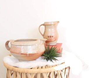 Vintage Stoneware Pitcher Set Ceramic Vases  Boho Home Decor Orange and Brown Bohemian Pottery Jungalow