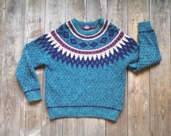 Vintage Woolrich Fair Isle Sweater - Nordic Scandinavian Inspired Pullover Yoke Sweater - Mens Small - Womens Medium Large