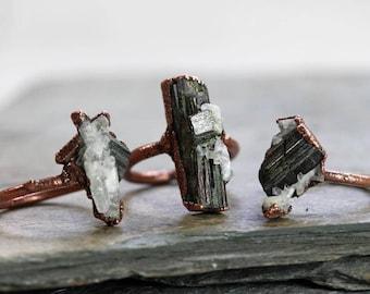 Green Tourmaline Ring Raw Tourmaline Ring Electroformed Crystal Ring Tourmaline in Quartz Electroformed Copper ring