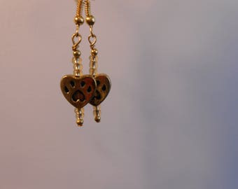 Golden Paw Print Pair of Earrings Item No. 842