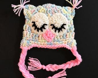 Handmade Crochet Owl Hat READY TO SHIP Girls Owl Costume Baby Hat 3-6 months Multi colored Sleepy Eyes