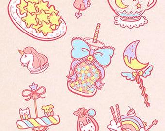 Fairy Kei Food Pre Cut Sticker Sheet (A6 size)