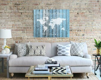 World Map Wood Print, Travel Map, Foam Board Map, Push Pin Map Wedding Map Guest Book, Nursery Wall Art Canvas, Map of the World - 51477