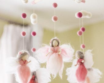Needle felted Fairy Baby Mobile, Baby mobile girl, Baby shower gift, Nursery decor, Baby Crib mobile