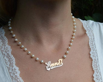 Name necklace two toned,Pearl chain name choker,Custom name necklace, Mother's day gift for her, name necklace, name pearl necklace.