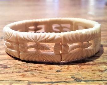 Vintage, Small Carved Bone Bracelet