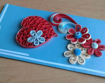Quilling card Quilling love Quilled card I love you gifts Greeting card Heart card Birthday card Quilled flowers Quilling patterns