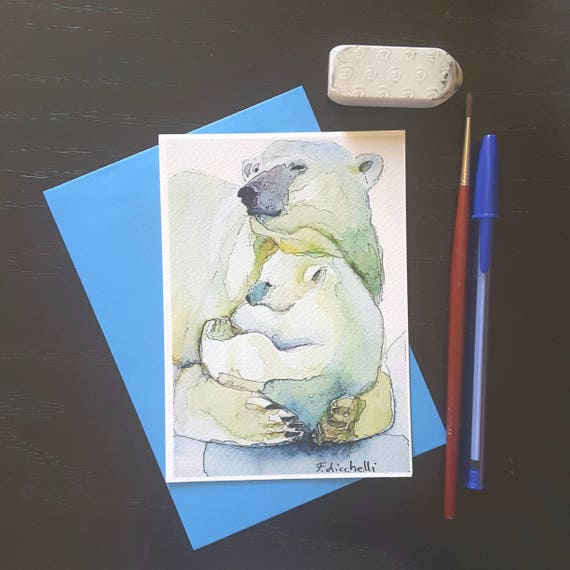 Little illustration depicting two polar bears, mom and son, A6, giclee fine art print, baby shower, birth, gift idea, nursery decoration.