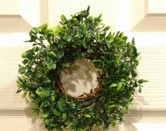 """6"""" Faux Boxwood & Grapevine Wreath (accessories not included)"""