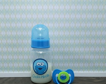Reborn Bottle and Pacifier, Reborn Magnetic or Putty Pacifier, 5 oz Fake Faux Milk Baby Cookie Monster Bottle, Reborn Baby Boy Accessories