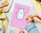 Rabbit Finger Puppet Easter Card - Interactive Play Card - Children's Activity Card - Kids Card – Bunny Rabbit Paper Toy Finger Puppet