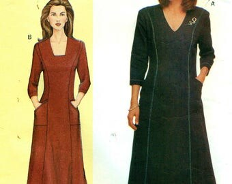 Vogue 7472 Sandra Betzina Princess Seam Dress Neckline Variations Slant Pockets Bust 38 ©2001