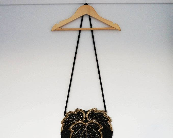 Black Beaded Bag, Vintage 1980s Sequin Bag, Shoulder Bag, Matching Bag Belt Set, Evening Bag Gold Sequin Bag Art Deco Bag Fun Fashion Tumblr