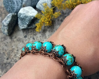 Turquoise bracelet Copper bracelet Turquoise jewelry Gift for her Boho jewelry Turquoise beaded bracelet Gift for girlfriend Womens bracelet