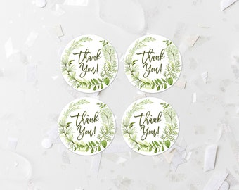 Greenery Thank You Favor Label Printable Green Foliage Thank You Tags Baby Shower Thank You Stickers Bridal Shower Decoration Wreath 263