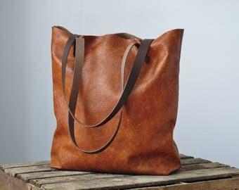 Cognac leather tote bag, leather shopper, real leather tote, shoulder bag, leather bag, leather purse, leather tote bag