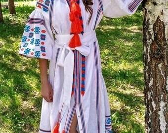 Boho Women Dress Linen Dress with Geometric Ukrainian Vyshyvanka dress Maxi Dress Ukrainian Style Chic Ethnic Bohemian dress Wedding dress