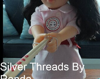 """18"""" Doll Rockford Peaches, League of Their Own Vintage Inspired Costume.  Dress with belt, front patch, optional shoes, sock, shorts and hat"""